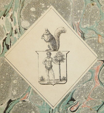 Mysterious squirrel and strong man in an unidentified bookplate.  Penn Libraries:   IC55 T1856 En802s